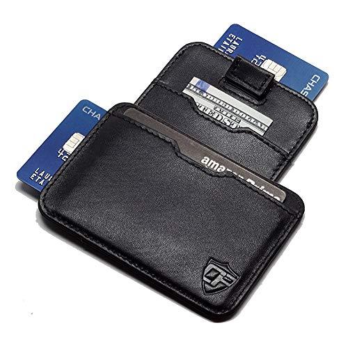 Card Blocr Pull Tab Wallet Slim Minimalist RFID Blocking Credit Card Wallet (Black Leather)
