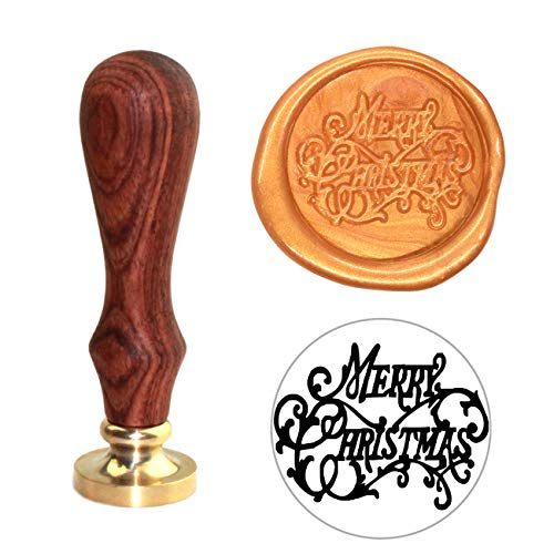 Botokon Merry Christmas Wax Seal Stamp, Merry Christmas Sealing Wax Seal Stamp with Wooden Handle, Vintage Retro Brass Head Removable Seal Stamp Cards, ()