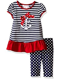 Baby Girls' Anchor Appliqued Knit Playwear Set
