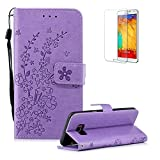 Funyye Strap Magnetic Flip Cover for Samsung Galaxy S8 Plus,Light Purple Elegant Plum Blossom Print Pattern Folio Wallet Case with Stand Credit Card Soft PU Leather Case for Samsung Galaxy S8 Plus,Shockproof Non Slip Full Body Protective Case for Samsung Galaxy S8 Plus + 1 x Free Screen Protector