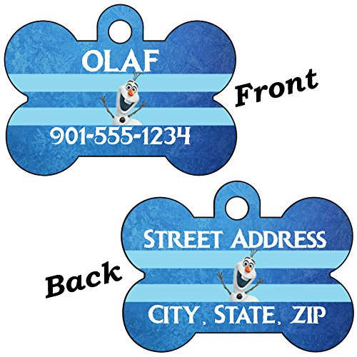 Princess Pet Tag (Disney Frozen Double Sided Pet Id Dog Tags Personalized with 4 Lines of Text (Olaf Ice))