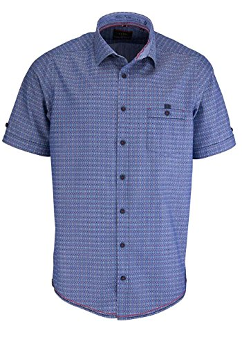 CASAMODA Casual Fit Hemd Halbarm mit Besatz Muster blau