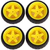 Keyes Durable Rubber Tires & Yellow 5 Spoke Wheel Rims RC 1: 10 Racing Car Pack Of 4
