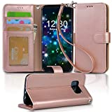 Galaxy s8 plus Case, Arae [Wrist Strap] Flip Folio [Kickstand Feature] PU leather wallet case with ID&Credit Card Pockets For Samsung Galaxy s8 plus(NOT for galaxy s8 ), (Rosegold)