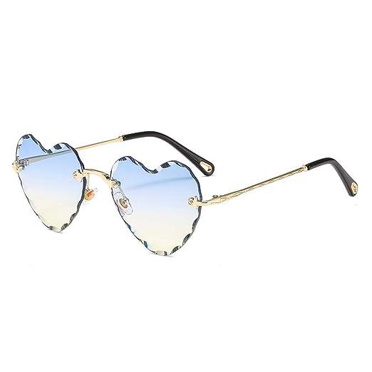 22b4462b0fa Amazon.com  Heart Sunglasses Rimless Thin Metal Frame Cute Eyewear ...