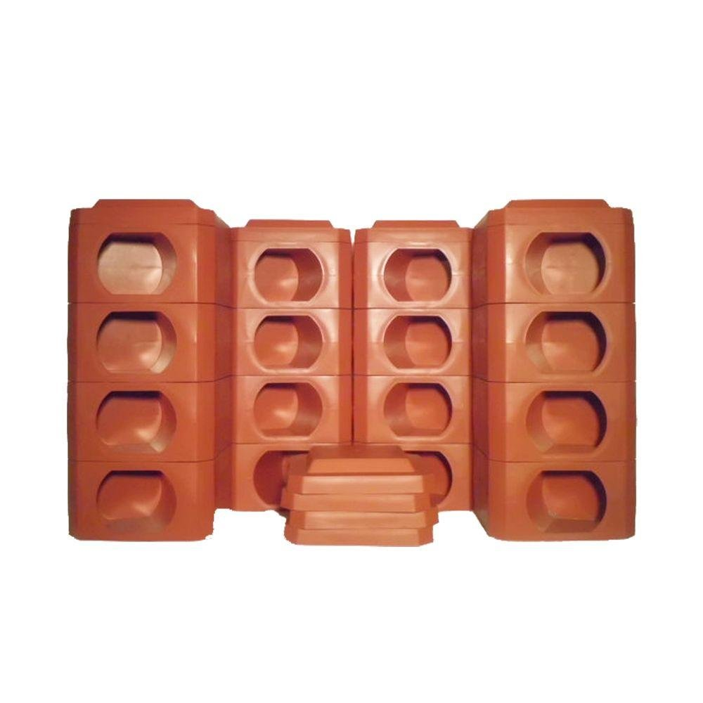 8 Point Octagon 2 Landscaping Timbers High Terra Cotta Blocks and Covers (24 pieces)