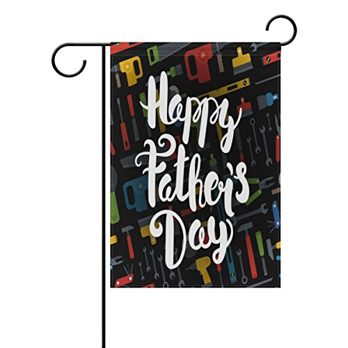 (ALAZA Happy Fathers Day 12 x 18 Inch Decorative Colorful Welcome Garden Flag)