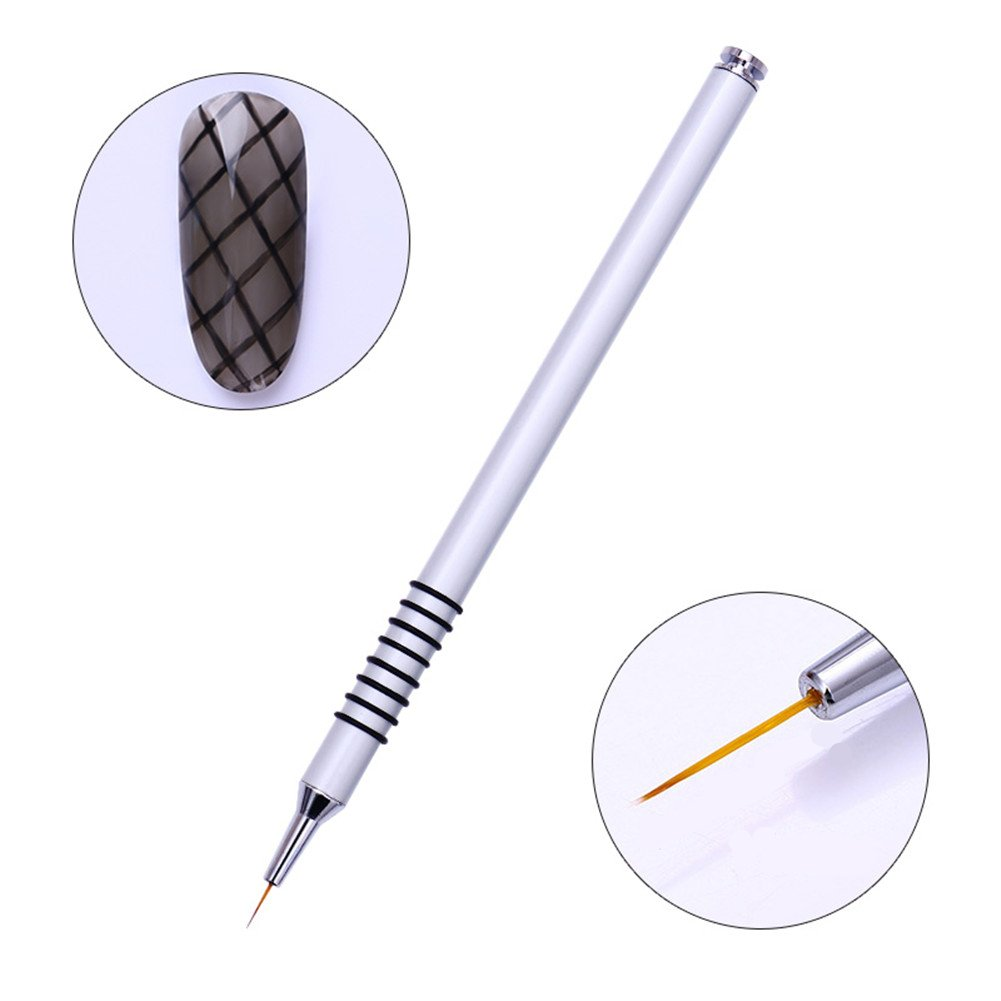 BORN PRETTY 3Pcs Nail Art UV Gel Liner Drawing Brush Flower Painting Acrylic Pen Silver Handle Manicure Design Builder