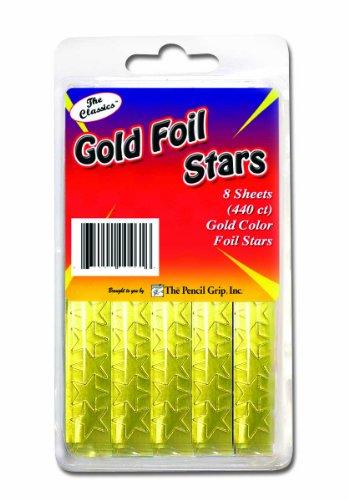 Pencil Grip The Classics Gold Foil Star Stickers, 55 stickers per sheet, 440 stickers per box(TPG-46406)