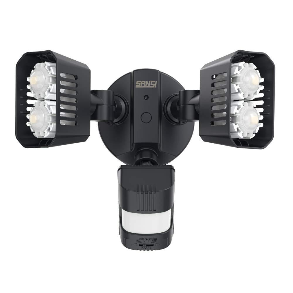 SANSI LED Dusk to Dawn Security Motion Sensor Light, 18W 150W Equiv. Outdoor Waterproof Motion Activated Flood Light, 1800lm, 5000K Daylight, Motion Detection Lights, ETL Certified, Black