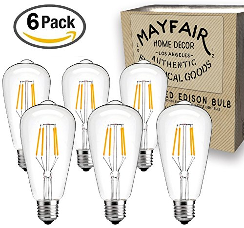 Edison Bulb 4W LED 6 Pack ST64 2700k Antique Retro Vintage Squirrel Cage Filament Warm Light Teardrop Style Replacement Bulbs