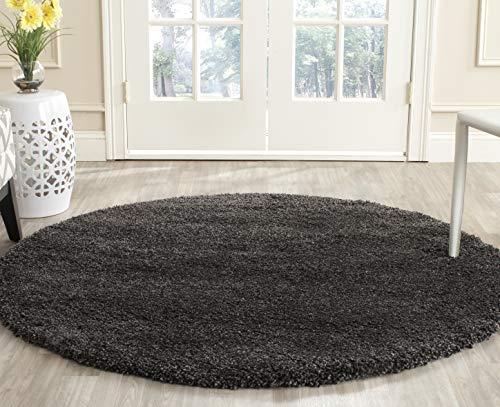 Safavieh Milan Shag Collection SG180-8484 Dark Grey Round Area Rug (10' ()