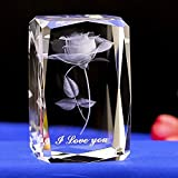 Duosuny 3D Laser Crystal Rose Flower with Gift Box, Engrave I Love You, Anniversary Keepsake & Paperweight, Wedding Souvenirs, Christmas Birthday Valentines Wedding Gift