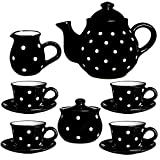 City to Cottage Handmade Black and White Polka Dot Ceramic Teapot Set, Large 1,7l/60oz/4-6 Cup Teapot, Milk Jug, Sugar Bowl, Four Cups and Saucers Tea Set, Pottery Housewarming Gift for Tea Lovers