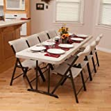 Portable Banquet,Conference,Utility Folding Tables (Almond, 8')