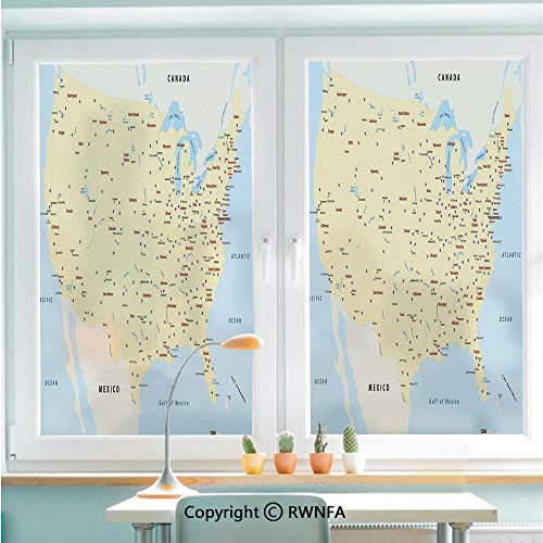 Window Film Door Sticker United States Interstate Map America Cities Travel Destinations Road Route Decorative Glass Film Both Suitable for Home and Office,22.8 x 35.4inch,Yellow Red Light Blue