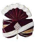 INMONARCH Mens Moti Work Wedding Groom Turban Pagari Safa Groom Hats TU1075 23-inch Maroon