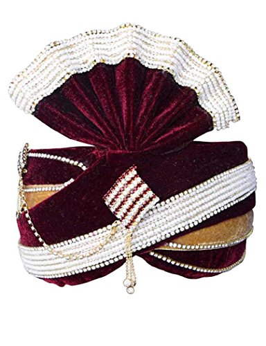 INMONARCH Mens Moti Work Wedding Groom Turban Pagari Safa Groom Hats TU1075 23-inch Maroon by INMONARCH