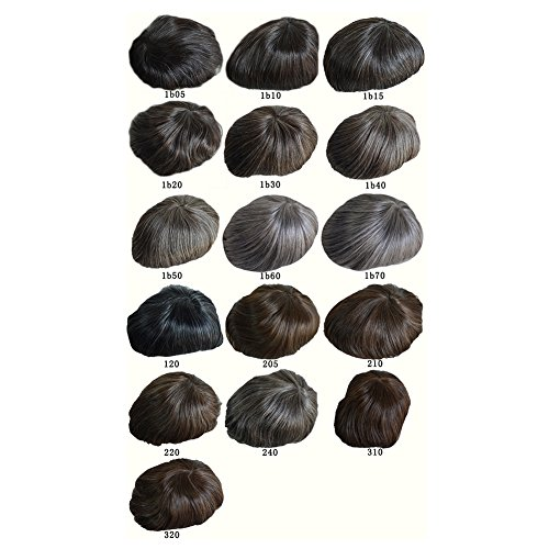 AIRAO All PU Silicone Base Custom Mens Toupee Hairpiece Human Indian Hair Replacement System Prosthesis Wigs - #220(Darkest Brown with 20% Gray Hair)