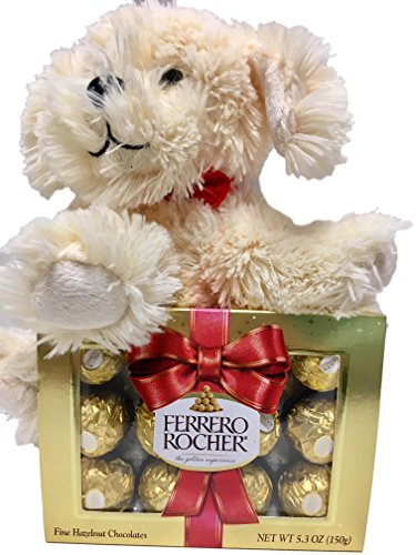 Cute Little Puppy With Ferrero Rocher Chocolate Candy Gift - Valentine, Get Well, Care Package Bundle (Ferrero Rocher Gold)