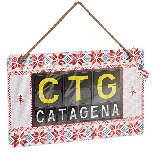 NEONBLOND Metal Sign CTG Airport Code for Catagena Vintage Christmas Decoration
