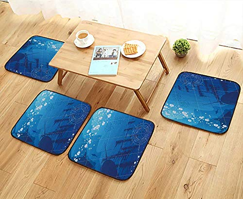 Printsonne Modern Chair Cushions Underwater with Sharks Old Ship and Compass Rose Deep Water Bubbles Bathroom Access Convenient Safety and Hygiene W23.5 x L23.5/4PCS Set ()
