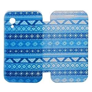 Figura Modelo geométrico azul PU funda de piel de cuerpo completo para Samsung S5830