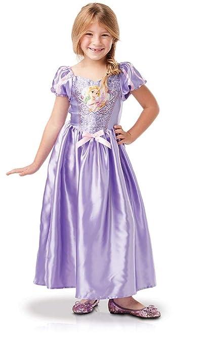 Princesas Disney - Disfraz de Rapunzel con lentejuelas para niña, infantil 3-4 años (Rubies 641027-S)