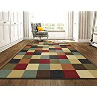 Ottomanson Ottohome Collection Contemporary Checkered Design Non-Skid Rubber Backing Modern Area Rug, 8'2'' X 9'10'', Multicolor