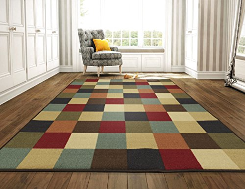 (Ottomanson Otto Home Collection Boxes Contemporary Checkered Design Modern Area Rug Skid (Non-Slip) Rubber Backing, 98