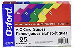 Oxford Poly Index Card Guides, Alphabetical, A-Z, Assorted Colors, 5\