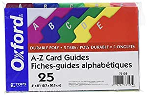 """Oxford Poly Index Card Guides, Alphabetical, A-Z, Assorted Colors, 5"""" x 8"""" Size, 25 Guides per Set (73155)"""