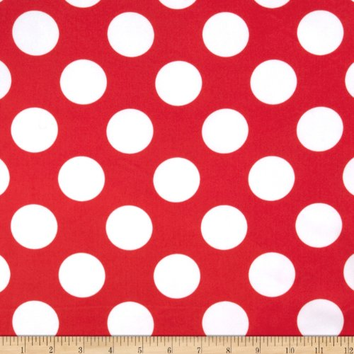 Charmeuse Satin Large Polka Dots Red/White Fabric By The (Red Polka Dot Satin)