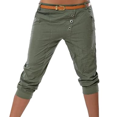 c840c0721 Hibote Harem Shorts for Women - 3/4 Shorts Cropped Capri Trousers Stretchy  Pockets Button