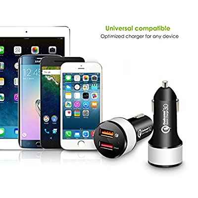 Quick Charge 3.0 Car Charger, iKits 30W Dual USB Car Phone Charge QC3.0 USB for Galaxy S9+/S9/S8+/S8, Moto G6, LG, 5V/2.4A Smart IC for iPhone,iPad Pro/Air/Mini, Tablet & More+ 4 ft Micro USB Cable