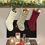 "Dailybella 3 Pack Classic Christmas Knit Stockings 14"" Christmas Holiday Hanging Stocking Decorations White Red and Grey (Multicolor, Length 18"")"