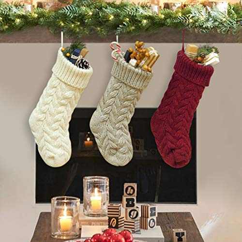 Dailybella 3 Pack Classic Christmas Knit Stockings 14quot Christmas Holiday Hanging Stocking Decorations White Red and Grey Multicolor Length 14quot