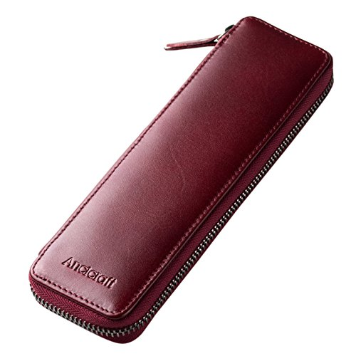 Leather Pencil Box - Ancicraft Pencil Case Leather Pouch Fountain Pen Holder With Zipper For Men Women (Wine Red)
