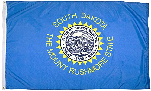 Flagsource - South Dakota Heavy Duty Nylon State Flag - Proudly Made in USA (3x5')