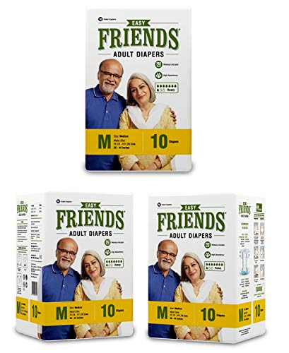 Friends Easy Adult Diapers Tape Style – 30 Count (Medium) with odour lock and Anti-Bacterial Absorbent Core- Waist Size…