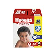 HUGGIES Snug & Dry Diapers, Size 3, 132 Count (Packaging May Vary)