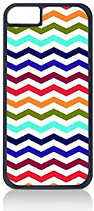 Bold and Colorful Chevrons- Case for the Apple iphone 5C Only-Hard Black Plastic Outer Shell