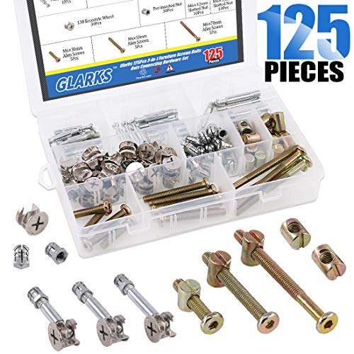 (Glarks 125Pcs 3-in-1 Furniture Connection Assortment Kit, Hex Socket Cap Screws & Cam Fitting & Dowel and Pre-Inserted Nut & Barrel Nuts for Crib, Wardrobe Splicing, Cabinet Drawer and)