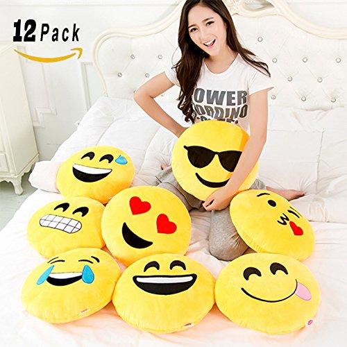 [VALUE BUNDLE] Set of 12 Large Emoji Plush Pillows, 13 Inches / 32CM Jumbo Yellow Round Stuffed Cushion Pillows Set