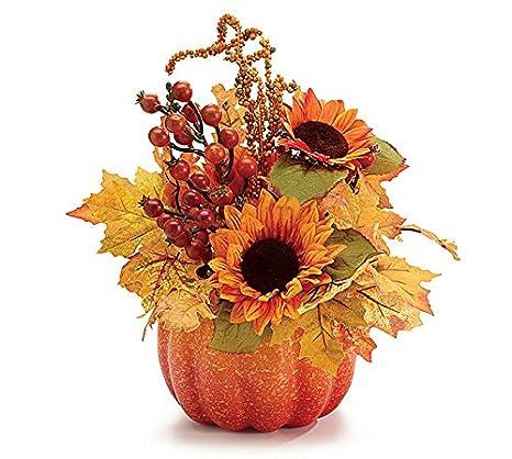 Fall Flowers Pumpkin Arrangement