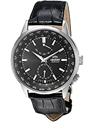 Orient Men's 'Adventurer' Japanese Automatic Stainless Steel and Leather Dress Watch, Color Black (Model: FFA06002B0)