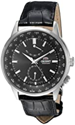 Orient Men's 'Adventurer' Japanese Automatic Stainless Steel and Leather Dress Watch, Color:Black (Model: FFA06002B0)
