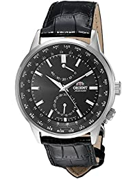 Men's 'Adventurer' Japanese Automatic Stainless Steel and Leather Dress Watch, Color:Black (Model: FFA06002B0)