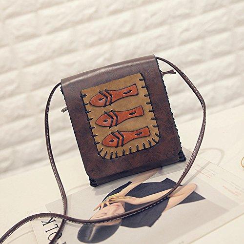 Solo Bolso De Hombro Diagonal Tendencia De Coreano Cartoon Lovely Lady Bolso De Mano,Perro Marron Claro Tres peces de color marron oscuro