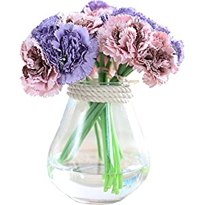 Felice Arts Artificial Carnation Peony Flowers Fake Silk Flowers 6 Heads Bridal Wedding Bouquet for Home Garden Party Mother's Day Decoration 118